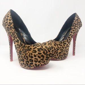 Alba   Leopard Faux Suede Red Sole Platform Heels